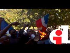 Haitianos queman bandera dominicana