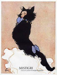 Illustration by René Gruau, Mistigri, le deuxième parfum de Jacques Griffé.