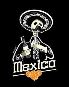mexico, poster, illustration, design, black, skull,