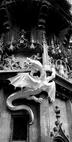 White dragon statue on cathedral in Munich, Germany.