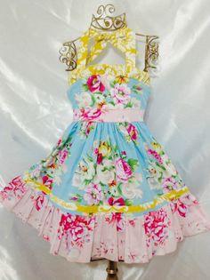 Girls Pegy Garden Ellie Halter Dress Size 5 Handmade; Everyday Use; 100%cotton #Handmade #Everyday