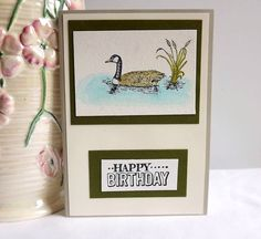 Birthday card with stamped and watercoloured goose by MaudieMaudie