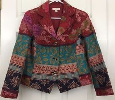 Coldwater Creek Tailored Blazer Lined 3 Button Red Turquoise Blue Size P10 Lined #ColdwaterCreek #Blazer
