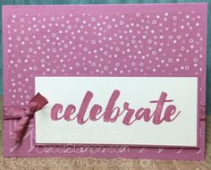 Monochromatic card featuring Sweet Sugarplum envelope paper and Happy Celebrations stamps by Stampin' Up! for TSOT. Closet Stampin' with Jayme Ziemer. Closetstampin.com
