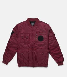5444cb846 Nylon flight satin jacket features contrast nylon ottoman trims