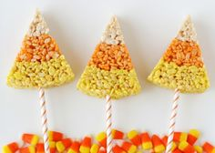 The only thing better than candy corn Rice Krispie treats is these candy corn Rice Krispie treats on a stick from Glorious Treats!