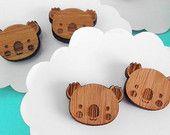 Koala Earrings - Wood Bamboo Studs