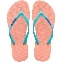 Havaianas Light Pink Flip Flops With Turquoise Strap And Violet Logo -... (105 BRL) ❤ liked on Polyvore featuring shoes, sandals, flip flops, havaianas flip flops, slim flip flops, rubber flip flops, violet shoes and slim shoes