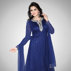 Blue Net Readymade Anarkali Churidar Kameez