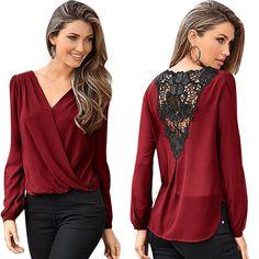 Women Chiffon Blouse 2016 Fashion Sexy V-neck Lace Crochet Hollow Backless Tops Casual Loose Long Sleeve Shirt