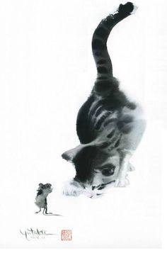 Toshiyuki Enoki Japanese) at The Great Cat Watercolor Cat, Watercolor Animals, Ink Painting, Watercolor Paintings, Japon Illustration, Tinta China, Cat Drawing, Animal Paintings, Asian Art