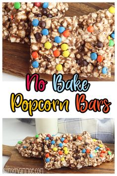With just 15 minutes of prep time needed, these delicious no bake popcorn bars are going to be a family hit. Add in some extra chocolate flavor and you've got quite the fun dessert! Kid-friendly and simple! Best Dessert Recipes, Delicious Desserts, Snack Recipes, Dessert Ideas, Drink Recipes, Cheesecake Brownie Bars, Cheesecake Cupcakes, Gluten Free Chocolate, Chocolate Flavors