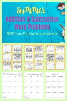 Summer Addition and Subtraction Word Problems FREE