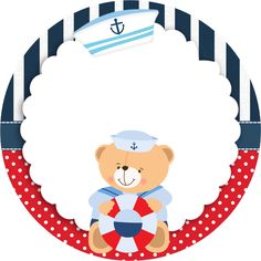 Molduras para Convite Forminhas para doces e bombons Bandeirola Adesivo redondo multiuso Rótulo Baton . Party Kit, Baby Shower Marinero, Deco Buffet, Sailor Baby, Diy And Crafts, Paper Crafts, Baby Shawer, Nautical Party, Nautical Banner