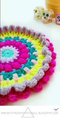 Set Free My Gypsy Soul   a Bohemian Craft and Crochet blog : Psychadellic Parma Violet Mandala   Free Crochet Pattern