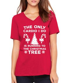 5e7b6519 This Red Christmas Tree Cardio V-Neck Tee is perfect! #zulilyfinds Big And