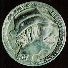 Steve Cox - Big-nosed Man Wearing Floppy Hat Hobo Nickel, Coins, Auction, Hat, Buffalo, Cactus, Chip Hat, Rooms, Water Buffalo