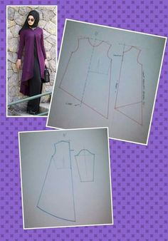 Outer for gamisLook at the draping!Discover thousands of images about Tunik (İcLaL) Dress Sewing Patterns, Blouse Patterns, Clothing Patterns, Abaya Pattern, Sewing Clothes Women, Sewing Blouses, Creation Couture, Pattern Drafting, Sewing Techniques