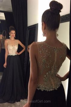 Open Back Prom Dresses, Black Prom Dress, Chiffon Evening Gowns, Scoop Neck Party Dresses, Beaded Formal Dresses