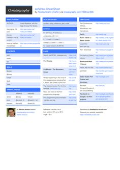 perlcheat Cheat Sheet by mishin http://www.cheatography.com/mishin/cheat-sheets/perlcheat/ #cheatsheet #development #programming #perl #perlcheat