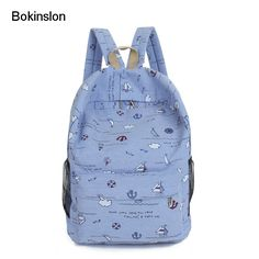 911c9f79a5 Bokinslon Backpack Women Bags Canvas Printing Female Fashion Backpack  Popular Small Fresh Ladies Travel Bags Unisex