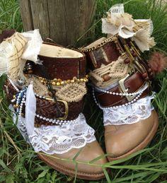 Custom order BOHO, GYPSY, Wedding boots for Lisa