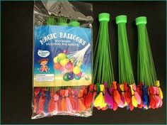 Magic Balloons 3 Fillers per package -- each filler has 37 balloons Each Package has 111 balloons. Fill over one hundred water balloons in just seconds with this ready to go bunch of self-tying water