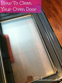 Put baking soda in a bowl, add water, mixing to consistency of icing. Spread it on the oven door glass. Let it sit for 30 minutes. Spray vinegar over the baking soda paste. Let it sit 30 minutes. With a the rough side of a sponge and elbow grease, scrub. Wipe clean with a wet rag.