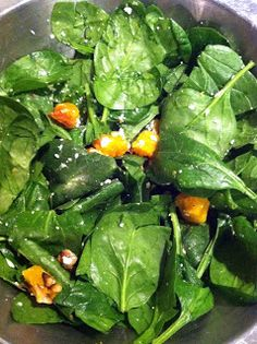 Butternut squash, baby spinach and walnuts