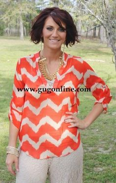 It's Moments Like This Coral Chevron Sheer Top
