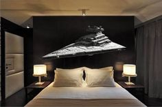 Star Wars Star Destroyer Wall Decal  SIZES: (Tall x Wide in inches) 9x22 22x53  PRODUCT DETAILS: Spice up any room with this beautiful and vibrant