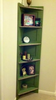 Corner shelf- I like how many shelves there are.  Want crown molding at the top and bottom, and a cool paint finish...