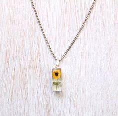 Sunflower Pressed Necklace, Sunflower Necklace, Pressed Flower Necklace, Plated Silver Necklace, Botanical Necklace, Flower Necklace by Ulous on Etsy https://www.etsy.com/listing/261908569/sunflower-pressed-necklace-sunflower
