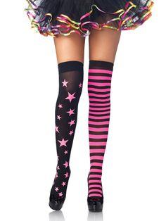 Leg Avenue 6319 - Neon Pink & Black Stars & Stripes Thigh Highs