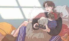 Vkook Fanart, Yoonmin Fanart, Taekook, Cute Hug, Cute Anime Coupes, Romantic Manga, Anime Love Couple, Bts Chibi, Animal Memes