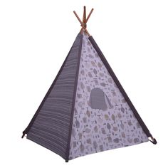 Bacati Owls in the Woods Teepee Tent for Kids/Toddlers, 100% Cotton Breathable Percale Fabric Cover, Beige/Grey