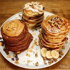 Start your day off right with a stack of these protein-packed pancakes for breakfast. Try all three variations to mix up your breakfast routine.