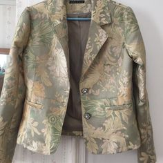Blazer Pretty flowery pattern brocade look - = gorgeous look - beautiful soft light green - lime colors w light peach - very soft stunning look - pretty rhinestone buttons turned a bit but can be changed - worn maybe once - ! Fair condition - taking offers  Mechant Jackets & Coats Blazers