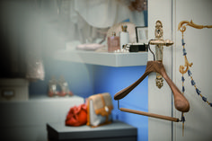 From our INTERIOR COLLECTION wallnut wood slim hanger portrayed at Hotel Villa Aminta ph. Paolo Bellon