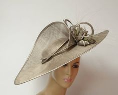 282ff5adb9e41c Taupe Sinamay lady dressy hat-fascinator Queen Plate | Etsy Wide Brimmed  Hats, Brim