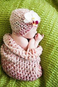 Baby Cocoon and Newborn beanie in parfait photo prop by scruggbug, $30.00