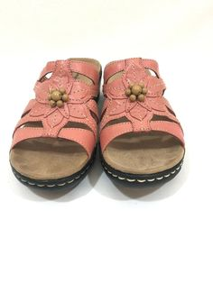 099730a2e13 Clarks 65116 Lexi Myrtle Sandals Coral Pink Women Size 7 M Leather Beaded