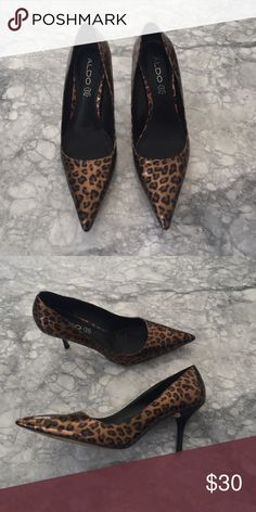 Aldo leopard pumps gorgeous pantent leather leopard print aldo pumps with a 2.5 inch heel. gently worn, super comfortable heel you can dance all night in. looks great with a pair of jeans or to complete a little black dress. Aldo Shoes Heels