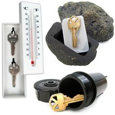 Trademark Hide-a-Key Set (Hide a Key Set Includes Rock Thermometer Sprinkler), Black (Metal), Outdoor Décor Hiding Spots, Hiding Places, Sprinkler, Black Metal, Hide A Key, Home Security Tips, House Security, Security Lock, Secret Storage