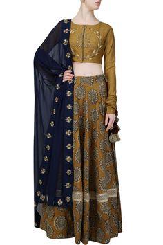 Mustard embroidered blouse and high waisted lehenga skirt set - Natasha J