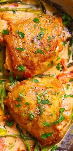 Creamy Mozzarella Chicken Thighs with Asparagus, Sun-Dried Tomatoes. Easy weeknight dinner recipe, gluten free dinner.
