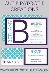 Initials Collection - Bat Mitzvah Invitations - Purple and Aqua - ANY COLOR COMBO Available
