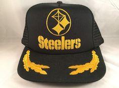 0c79754127d Vintage PITTSBURGH STEELERS Mesh Trucker Snapback Hat Gold Leaf NFL USWA  Union  Unbranded  MeshTrucker