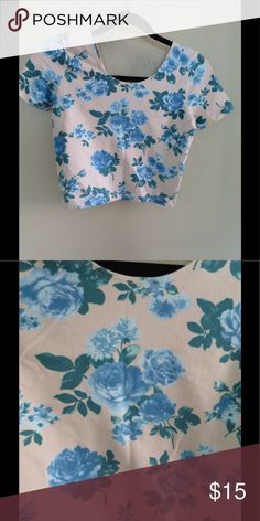 Floral crop top Super cute crop top from American Apparel. This top is really nice quality and looks so adorable with high rise blue jeans! In great condition. American Apparel Tops Crop Tops