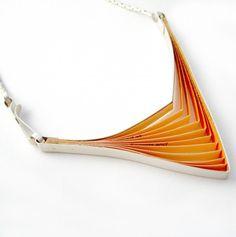 Orange paper & Silver Necklace   Clara Breen
